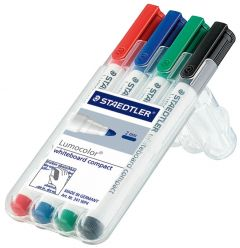 Staedtler Lumocolor 351 Drywipe Marker Asstd Pk4