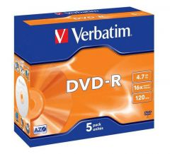 Verbatim DVD-R 16X 4.7Gb JC Pk5 43519
