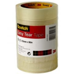 Scotch Easy Tear Clear Tape 25mmx66m Pk 6's