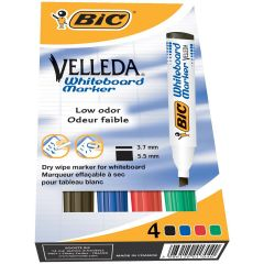 Bic Velleda Liquid Ink Drywipe Marker Asstd Pk4