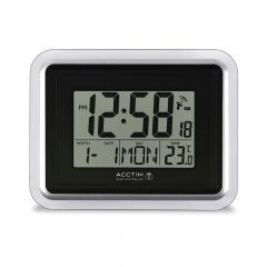 Acctim Lancia Radio Controlled Digital Clock Silver/White