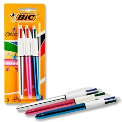 BIC 4 Colours Shine Blister (3 Pack)