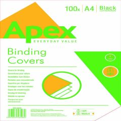 Fellowes Apex Lth/brd Blk A4 Cover Pk100