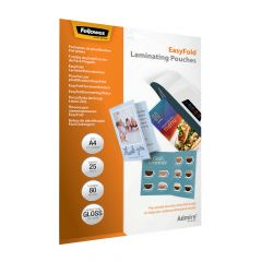 Fellowes EasyFold A4 Laminating Pouches 160 Mic Pk 25