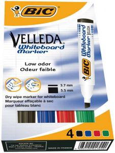 Bic Velleda Whiteboard Marker Chisel Tip Assorted Pack of 4
