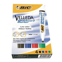 Bic Velleda Whiteboard Marker Bullet Tip Assorted Pack of 4