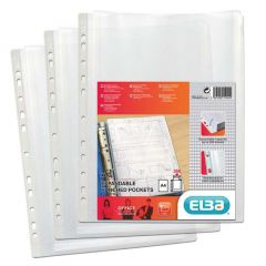 Elba Expanding Punched Pocket Clear A4 Pk 10