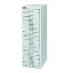 Bisley 15 Drawer Silver Non-Locking Multi-Drawer Cabinet