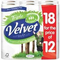 Triple Velvet Toilet Roll Pk 18 White KSCATV18