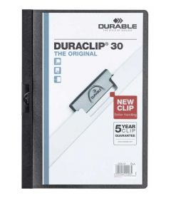 Durable Duraclip File A4 3mm Black Pack of 25 2200/01