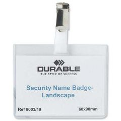 Durable Name Badge 60x90mm With Security Fastener