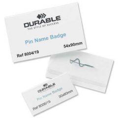 Durable Name Badge 40x75mm Pin Fastener