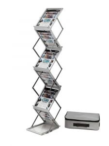 Deflecto A4 Folding Stand Double Sided With Carry Case Silver