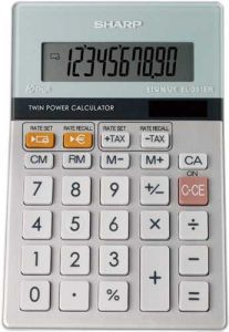 Sharp Semi-Desktop Calculator 10-digit Silver EL331ER