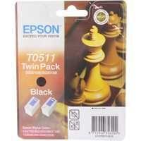 Epson T0511 Black Inkjet Cartridge Twin Pack