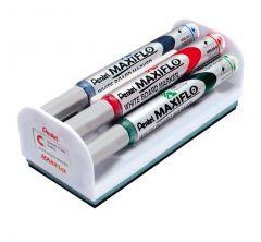 Pentel Maxiflo Whiteboard Marker Asstd Pk4 with Magnetic Eraser
