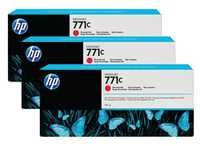 HP 771C 3-Pk 775-ml Chromatic Red Designjet Ink Cartridges B6Y32A