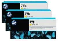 HP 771C 3-Pk 775-ml Yellow Designjet Ink Cartridges B6Y34A