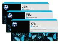 HP 771C 3-Pk 775-ml Light Cyan Designjet Ink Cartridges B6Y36A
