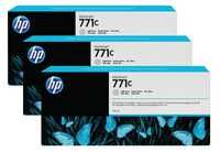 HP 771C 3-Pk 775-ml Light Gray Designjet Ink Cartridges B6Y38A