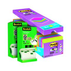 Scotch Magic Tape 19mm x 33m (14 Pack) Buy 2 Get FOC Post-it Super Sticky Asstd