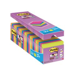 Post-it Notes Super Sticky 76 x 76mm Assorted Colours (24 Pack)