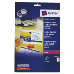 Avery Satin White Double Sided Laser Business Cards  (250 Pack)