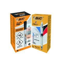 4 Colours Ballpoint Pen and Pencil 12's FOC Bic Marking PRO Markers Bk 12's
