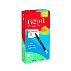 Berol Assorted Water-Based Colourfine Pens Wallet (12 Pack)