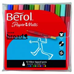 Berol Assorted Water-Based Colourbroad Pen Wallet (12 Pack)