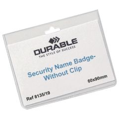Durable Security Badge 60x90mm Clear (20 Pack)