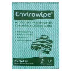 Envirowipe Antibacterial Green Cleaning Cloths (25 Pack)