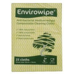 Envirowipe Antibacterial Yellow Cleaning Cloths (25 Pack)