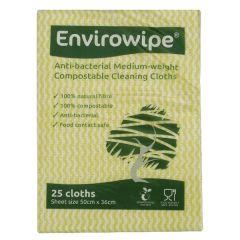 Envirowipe Antibacterial Yellow Cleaning Cloths (25 Pack)