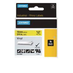 Dymo Rhino Black on Yellow 19mm x 5.5m Coloured Vinyl Labels