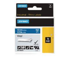 Dymo Black on White Rhino Vinyl Tape 12mmx5.5m