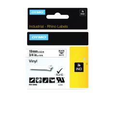 Dymo Black on White Rhino Vinyl Tape 19mmx5.5m