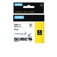Dymo Rhino 9mmx5.5m Black on White Vinyl Tape