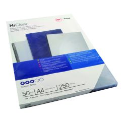 GBC HiClear PVC 250 Micron A4 Clear Binding Covers (50 Pack)
