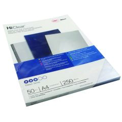 GBC HiClear PVC 250 Micron A4 Super Clear Binding Covers (50 Pack)