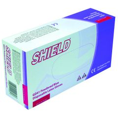 Shield Powdered Large Blue Latex Gloves Pk100