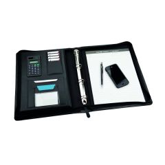 Monolith Leather Look Zipped Ring Binder With A4 Pad A4