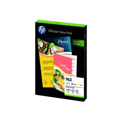 HP 963 Cyan/Magenta/Yellow Ink Cartridge and Paper A4 Office Value Pack (125 Pack)