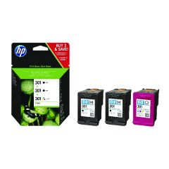 HP 301 Black and Tri-Colour 3 Pack Ink Cartridges