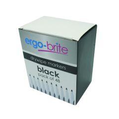 Ergo-Brite Black Drywipe Markers Pk48