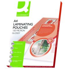 Q-Connect A4 Laminating Pouch 200 Micron Pk100