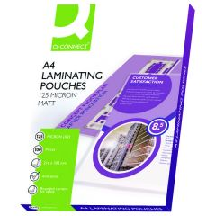 Q-Connect Matt A4 Laminating Pouch 250 Micron Pk100