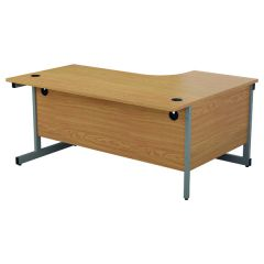 First Left Hand Radial Cantilever Desk 1600x1200mm Nova Oak/Silver