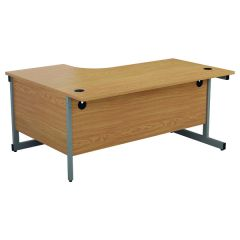 First Right Hand Radial Cantilever Desk 1600x1200mm Nova Oak/Silver