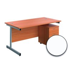 First Single Desk 1600x800mm White/Silver 2 Drawer Pedestal